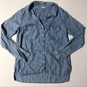 Anthro Splendid Chambray Striped Button Up